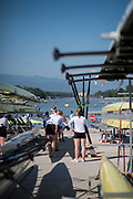 Plovdiv BULGARIA. 2017 FISA. Rowing World U23 Championships.  CAN. BW8+, getting ready to boat<br /> <br /> Wednesday. AM, general Views, Course, Boat Area<br /> 09:28:59  Wednesday  19.07.17   <br /> <br /> [Mandatory Credit. Peter SPURRIER/Intersport Images].