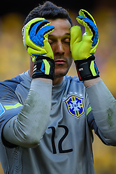 Júlio César na partida entre Brasil x Colombia, válida pelas quartas de final da Copa do Mundo 2014, no Estádio Castelão, em Fortaleza-CE. FOTO: Jefferson Bernardes/ Agência Preview