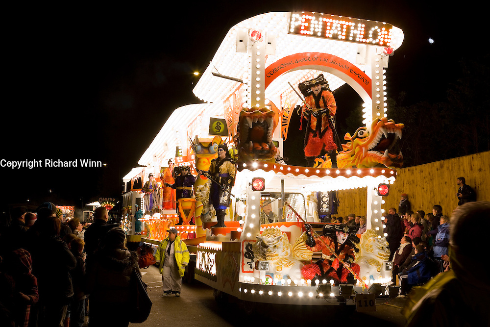 Ceremonial Barge of the Dragon Emperor by Pentathlon Carnival Club at Bridgwater Carnival 2009. Fourth in the Tableau Cart Feature Class.