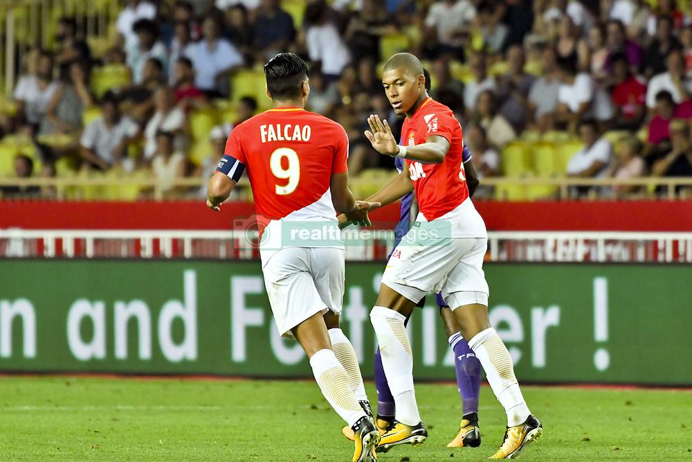 August 4, 2017 - Monaco, France - Kylian Mbappe Lottin (AS Monaco) - Radamel Falcao  (Credit Image: © Panoramic via ZUMA Press)