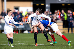 Emily Scarratt of England Women is tackled - Mandatory by-line: Robbie Stephenson/JMP - 10/02/2019 - RUGBY - Castle Park - Doncaster, England - England Women v France Women - Women's Six Nations