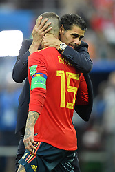 Fernando Hierro and Sergio Ramos dejected after being eliminated of the 2018 FIFA World Cup by the Russia in Moscow, Russia on July 1st, 2018. Photo by Lionel Hahn/ABACAPRESS.COM