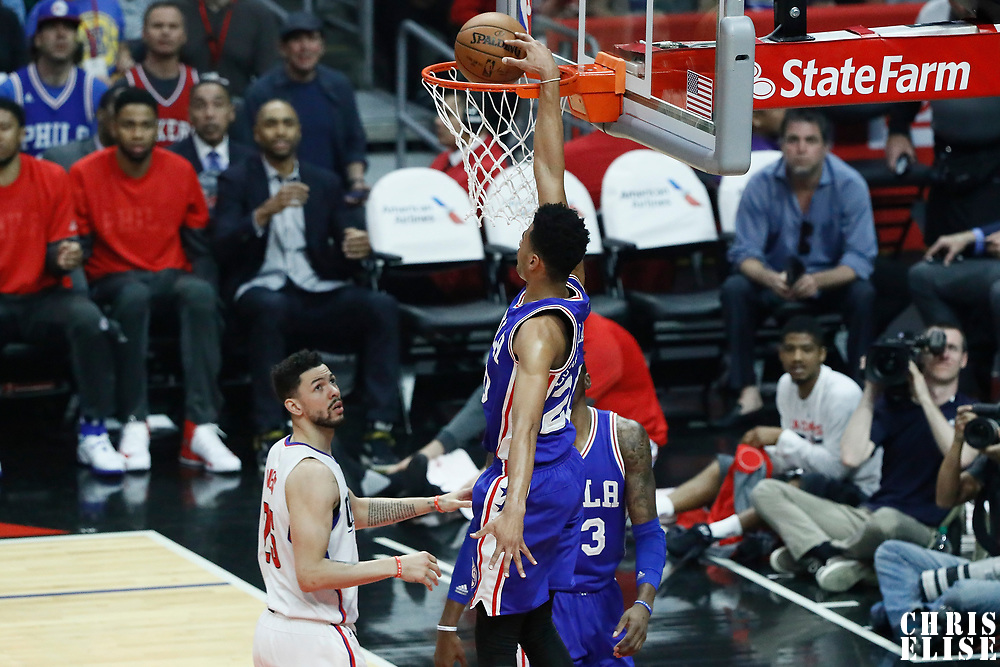11 March 2017: Philadelphia 76ers guard Timothe Luwawu-Cabarrot (20) dunks the ball during the LA Clippers 112-100 victory over the Philadelphia Sixers, at the Staples Center, Los Angeles, California, USA.