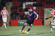 Morecambes goalscorer Padraig Amond during the Sky Bet League 2 match between Cheltenham Town and Morecambe at Whaddon Road, Cheltenham, England on 16 January 2015. Photo by Shane Healey.