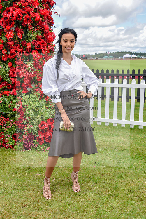 Maya Jama at the Cartier Queen's Cup Polo 2019 held at Guards Polo Club, Windsor, Berkshire. UK 16 June 2019. <br /> <br /> Photo by Dominic O'Neill/Desmond O'Neill Features Ltd.  +44(0)7092 235465  www.donfeatures.com