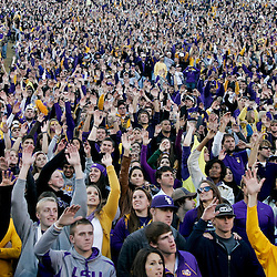 November 6, 2010; Baton Rouge, LA, USA; LSU Tigers fans cheer from the stands during a game against the Alabama Crimson Tide at Tiger Stadium. LSU defeated Alabama 24-21.  Mandatory Credit: Derick E. Hingle