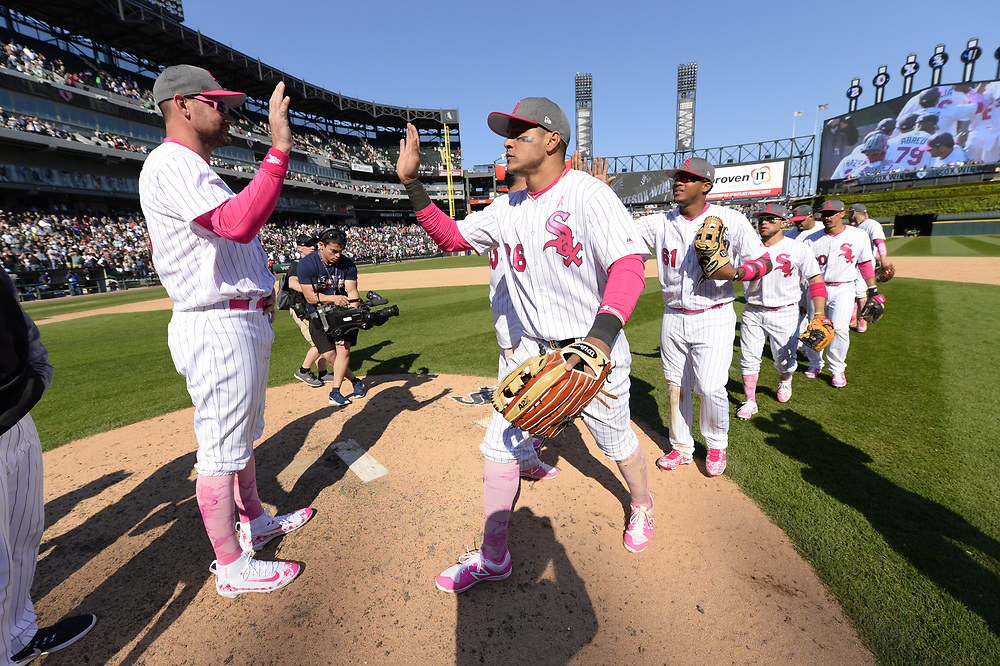 CHICAGO - MAY 14:  Tommy Kahnle #48 and Avisail Garcia #26 of the Chicago White Sox celebrate after the game against the San Diego Padres on May 14, 2017 at Guaranteed Rate Field in Chicago, Illinois.  The White Sox defeated the Padres 9-3 .  (Photo by Ron Vesely)  Subject: Tommy Kahnle; Avisail Garcia