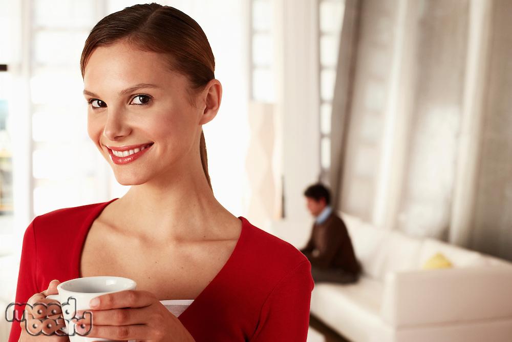 Businesswoman in Office Lobby
