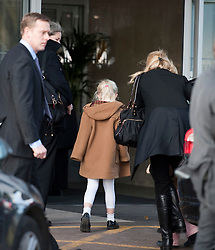 © London News Pictures. 03/03/2012. London, UK. Children Countess Launa (centre) and Countess Zaria (hidden) being escorted by Princess Mabel in to The Wellington Hospital in London on March 3rd, 2012 to visit their father./husband Prince Friso at his Hospital bed. Prince Johan Friso, who has been in a coma since a skiing accident two weeks ago, has been flown from Austria to the London Hospital. Photo credit : Ben Cawthra/LNP