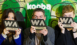 Repro Free: 02/11/2012.A Hat Trick for Kooba : Kooba Wins Three Awards at The Irish Web Awards including Best Web Agency of the Year?Ä®¬??Ä®Clodagh Mahoney, Head of Front End Development, Emmet Dunne, Managing Director and Ed Kelly, Creative Director of Irish owned web design and development agency Kooba who¬?took home three awards at Thursday?Äôs Web Awards 2012 in Dublin?Äôs Mansion House : Web Agency of the Year, Best Responsive Website and Best Education and Third Level Website. Pic Andres Poveda?Ä®¬??Ä®Kooba was awarded Best Web Agency of the Year fighting off stiff ¬?competition from a shortlist of no fewer than twenty other web agencies.?Ä®Kooba?Äôs own website won the award for Best Responsive Design. Recent findings from Accenture?Äôs Mobile Web Watch 2012 reveal 77% of Irish internet users access the internet from mobile devices. Kooba has responded to this trend by redeveloping their own website and making it user friendly and accessible regardless of whether you access the internet from the latest smart phone, tablet or an old desk top pc.?Ä®Kooba?Äôs Creative Director, Ed Kelly said, ?Äú ¬?We?Äôre over the moon at having won all three awards, not least the award for Best Web Agency of the Year. 2012 has been an exciting year for everyone at Kooba..?Äù?Ä®Kooba won Best Education and Third Level website for their design and development of the National College of Art and Design (NCAD) website. ¬?Kooba worked closely with a team in NCAD to create a new website that is much more interactive for students, staff, alumni and prospective students.?Ä®¬??Ä®?Äú this is a great way to sign off 2012 and look forward to 2013. We moved premises to Dublin 1 earlier in the year, our team has grown in size to 5 and we?Äôre in the process of recruiting two more developers,?Äù said Ed.?Ä®¬??Ä®ENDS?Ä®¬??Ä®Contact Pauline N?? Luanaigh 086 8323 998.