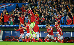 LILLE, FRANCE - Friday, July 1, 2016: Wales' substitutes leap off the bench to celebrate after a 3-1 victory over Belgium and reaching the Semi-Final with David Cotterill and Neil Taylor during the UEFA Euro 2016 Championship Quarter-Final match at the Stade Pierre Mauroy. George Williams, Joe Ledley, goalkeeper Owain Fon Williams, Hal Robson-Kanu, David Cotterill, David Vaughan. (Pic by David Rawcliffe/Propaganda)