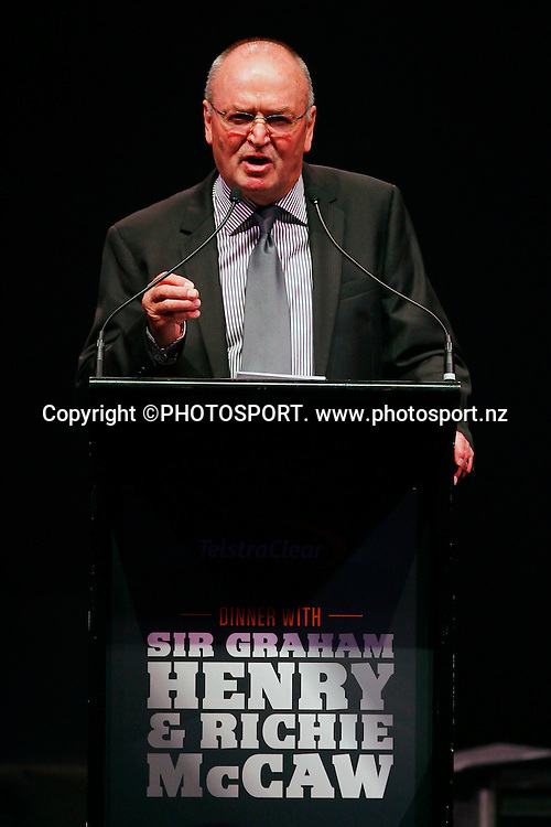Sir Graham Henry. A Tribute to Sir Graham Henry and Richie McCaw, Telstra Pacific Events Centre, Manukau, Auckland, Thursday 19 April 2012. Photo: Simon Watts / photosport.co.nz