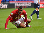 Bristol city forward, Jonathan Kodjia looks to the linesman after he is fouled during the Sky Bet Championship match between Bolton Wanderers and Bristol City at the Macron Stadium, Bolton, England on 7 November 2015. Photo by Mark Pollitt.
