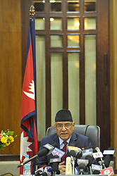 May 24, 2017 - Kiev, NE, Ukraine - Prime Minister of Nepal, Pushpa Kamal Dahal, resigns after giving special speech at prime minister office at Kathmandu, Nepal on Wednesday, May 24, 2017. (Credit Image: © Narayan Maharjan/NurPhoto via ZUMA Press)