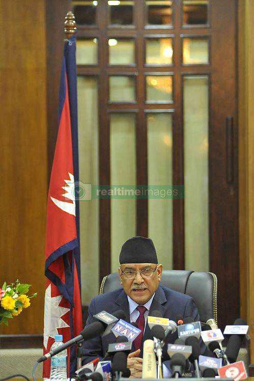 May 24, 2017 - Kiev, NE, Ukraine - Prime Minister of Nepal, Pushpa Kamal Dahal, resigns after giving special speech at prime minister office at Kathmandu, Nepal on Wednesday, May 24, 2017. (Credit Image: © Narayan Maharjan/NurPhoto via ZUMA Press)