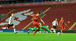ANFIELD, ENGLAND - Friday, August 22, 2014: Liverpool's Sergi Canos sees his shot saved by Manchester United's goalkeeper Joel Pereira in the last minute during the Under 21 FA Premier League match at Anfield. (Pic by David Rawcliffe/Propaganda)