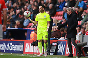 Brighton defender full back Liam Rosenior prepares to take a throw during the Sky Bet Championship match between Charlton Athletic and Brighton and Hove Albion at The Valley, London, England on 23 April 2016. Photo by Bennett Dean.
