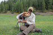 Keith Crowley with Ranger, the Walker hound that got him his bear in Idaho.