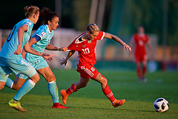 NEWPORT, WALES - Tuesday, June 12, 2018: Wales' Jessica Fishlock is pulled back by Russia's captain Anna Kozhnikova during the FIFA Women's World Cup 2019 Qualifying Round Group 1 match between Wales and Russia at Newport Stadium. (Pic by David Rawcliffe/Propaganda)
