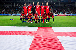 Team England, first line (L-R): Danny Rose of England, Theo Walcott of England, Jordan Henderson of England, Jesse Lingard of England and Daniel Sturridge of England; 2nd line: Kyle Walker of England, John Stones of England, Joe Hart of England, Eric Dier of England, Gary Cahill of England and Dele Alli of England  during football match between National teams of Slovenia and England in Round #3 of FIFA World Cup Russia 2018 Qualifier Group F, on October 11, 2016 in SRC Stozice, Ljubljana, Slovenia. Photo by Vid Ponikvar / Sportida