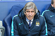 Manchester City's manager Manuel Pellegrini during the Champions League match between Manchester City and Real Madrid at the Etihad Stadium, Manchester, England on 26 April 2016. Photo by Shane Healey.