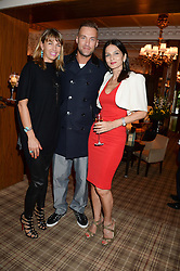 Left to right, ASSIA WEBSTER, CALUM BEST and YASMIN MILLS at the Blue Monday Cheese Launch presented by Alex James and held at The Cadogan Hotel, Sloane street, London on 11th June 2013.