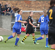 Megan McCarthy (18) celebrates after scoring Forfar Farmington's equaliser - Forfar Farmington v Hutchison Vale, pre-season friendly at Station Park, Forfar<br /> <br />  - &copy; David Young - www.davidyoungphoto.co.uk - email: davidyoungphoto@gmail.com