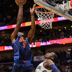 Apr 1, 2018; New Orleans, LA, USA; Oklahoma City Thunder forward Jerami Grant (9) shoots over New Orleans Pelicans forward Cheick Diallo (13) during the first quarter at the Smoothie King Center. Mandatory Credit: Derick E. Hingle-USA TODAY Sports