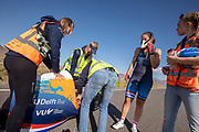 De Velox tijdens de ochtendruns op de vierde racedag. Het Human Power Team Delft en Amsterdam, dat bestaat uit studenten van de TU Delft en de VU Amsterdam, is in Amerika om tijdens de World Human Powered Speed Challenge in Nevada een poging te doen het wereldrecord snelfietsen voor vrouwen te verbreken met de VeloX 9, een gestroomlijnde ligfiets. Op 10 september 2019 verbreekt het team met Rosa Bas het record met 122,12 km/u. De Canadees Todd Reichert is de snelste man met 144,17 km/h sinds 2016.<br /> <br /> With the VeloX 9, a special recumbent bike, the Human Power Team Delft and Amsterdam, consisting of students of the TU Delft and the VU Amsterdam, wants to set a new woman's world record cycling in September at the World Human Powered Speed Challenge in Nevada. On 10 September 2019 the team with Rosa Bas a new world record with 122,12 km/u.  The fastest man is Todd Reichert with 144,17 km/h.
