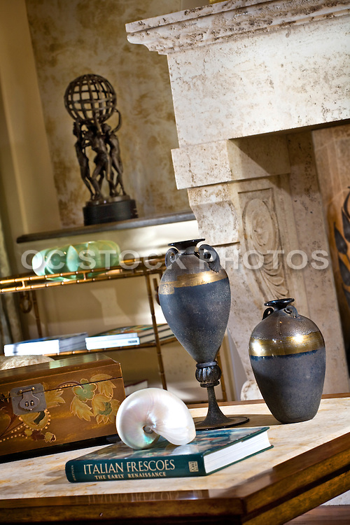 Interior Stock Photo of Living Room with Coffee Table and Stone Fireplace