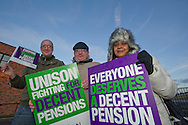 Matt Davies, Simon Morris and Melissa Sylvester Kirklees Unison members on the TUC Day of Action 30th November, Huddersfield.