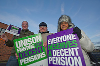Matt Davies, Simon Morris and Melissa Sylvester Kirklees Unison members on the TUC Day of Action 30th November, Huddersfield..© Martin Jenkinson, tel 0114 258 6808 mobile 07831 189363 email martin@pressphotos.co.uk. Copyright Designs & Patents Act 1988, moral rights asserted credit required. No part of this photo to be stored, reproduced, manipulated or transmitted to third parties by any means without prior written permission
