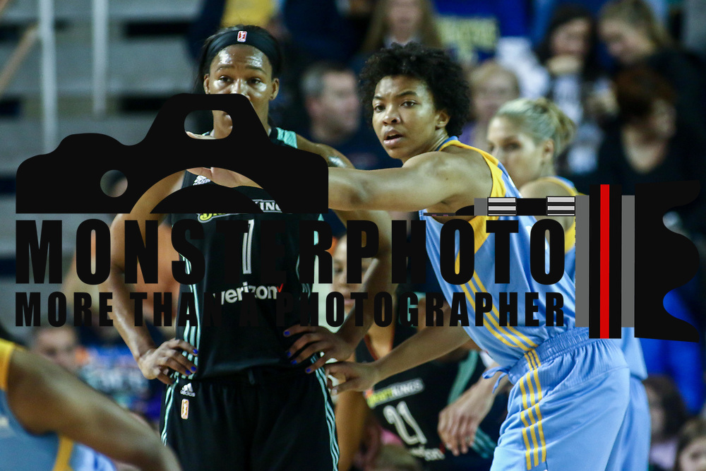 Chicago Sky Center IMANI BOYETTE (34) defends New York Liberty Center Avery Warley-Talbert (7) during a WNBA preseason basketball game between the Chicago Sky and the New York Liberty Sunday, May. 01, 2016 at The Bob Carpenter Sports Convocation Center in Newark, DEL Photo By Saquan Stimpson