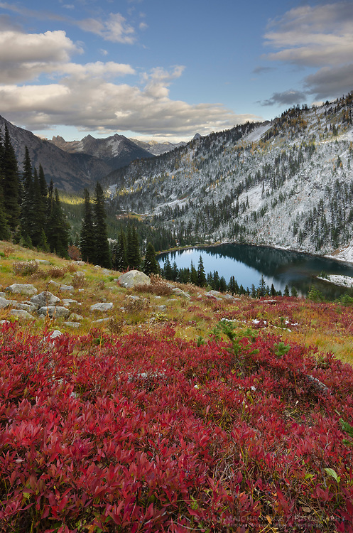 Lake Ann in autumn with fresh snowfall. North Cascades Washington