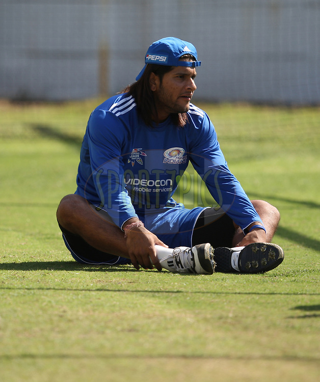 Saurabh Tiwary  during the Mumbai Indians training session held at Kingsmead Stadium in Durban on the 13 September 2010..Photo by: Steve Haag/SPORTZPICS/CLT20.
