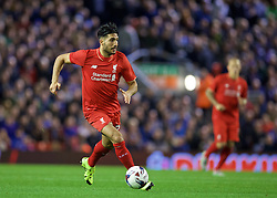LIVERPOOL, ENGLAND - Wednesday, September 23, 2015: Liverpool's Emre Can in action against Carlisle United during the Football League Cup 3rd Round match at Anfield. (Pic by David Rawcliffe/Propaganda)