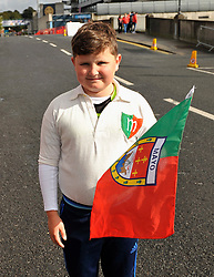 Sean Staunton grandson of the late Joe Staunton (Lecanvey) from Mayo&rsquo;s 1951 team wearing his grandad&rsquo;s jersey from 51 at the All Ireland Football Final on sunday last.<br /> Pic Conor McKeown