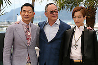 Actor Andy Lau, Director Johnnie To and Actress Sammi Cheng at the 'Blind Detective' photocall at the Cannes Film Festival Monday 20th May 2013
