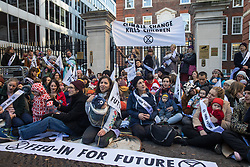 London, UK. 2 December, 2019. Climate activist mothers from Extinction Rebellion Families nurse their babies outside the headquarters of the Conservative Party as part of a roving nurse-in outside the premises of the various political parties to demand that they put the climate and ecological emergency at the heart of their general election campaigns.