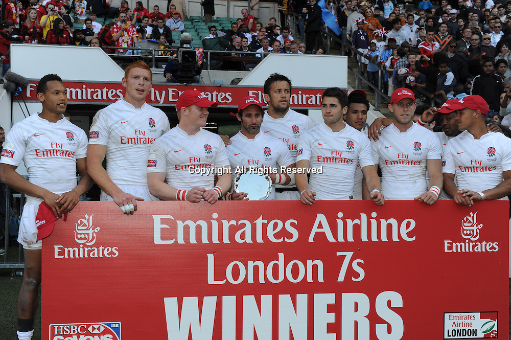 22.05.2011 England winners of the Shield at the London Sevens at the Rugby Union HSBC Sevens World Series from Twickenham.