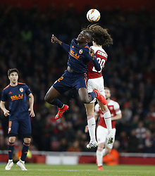 BRITAIN-LONDON-FOOTBALL-UEFA EUROPA LEAGUE-ARSENAL VS VALENCIA.(190502) -- LONDON, May 2, 2019  Valencia's Mouctar Diakhaby (L, Above) competes for the ball with Arsenal's Matteo Guendouzi during the UEFA Europa League semi-final first leg match between Arsenal and Valencia at The Emirates Stadium in London, Britain on May 2, 2019. Arsenal won 3-1.  FOR EDITORIAL USE ONLY. NOT FOR SALE FOR MARKETING OR ADVERTISING CAMPAIGNS. NO USE WITH UNAUTHORIZED AUDIO, VIDEO, DATA, FIXTURE LISTS, CLUB/LEAGUE LOGOS OR ''LIVE'' SERVICES. ONLINE IN-MATCH USE LIMITED TO 45 IMAGES, NO VIDEO EMULATION. NO USE IN BETTING, GAMES OR SINGLE CLUB/LEAGUE/PLAYER PUBLICATIONS. (Credit Image: © Matthew Impey/Xinhua via ZUMA Wire)