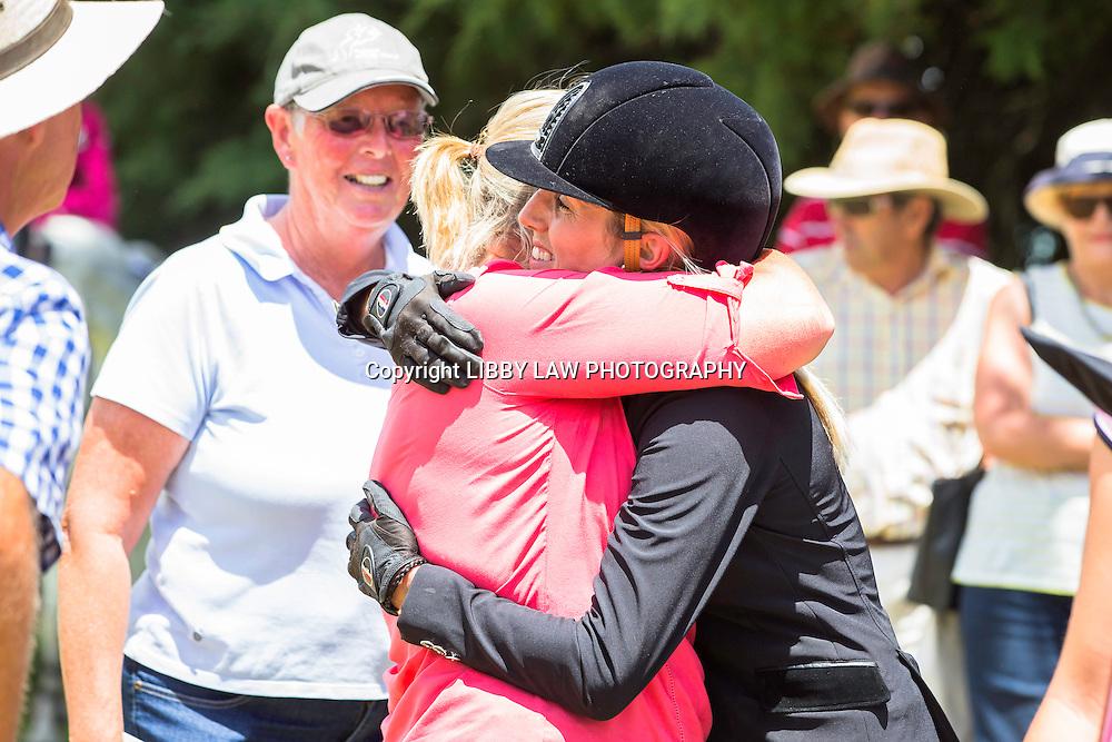 WORLD CUP SERIES TITLE WINNER: NZL-Katie Laurie (DUNSTAN KIWI IRON MARK) hugs her Mum - Vicky McVean: 1ST-IMAKE Ultra.Mox World Cup Final: 2015 NZL-IMAKE Showjumping Waitemata World Cup - Woodhill Sands (Sunday 11 January) CREDIT: Libby Law/www.photosport.co.nz