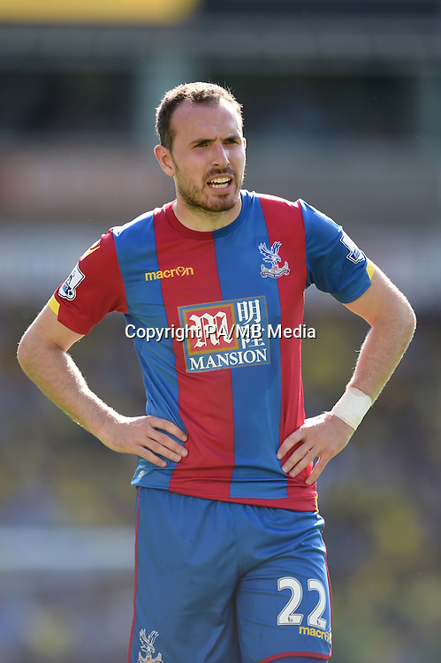 "Crystal Palace's Jordan Mutch during the Barclays Premier League match at Carrow Road, Norwich. PRESS ASSOCIATION Photo. Picture date: Saturday August 8, 2015. See PA story SOCCER Norwich. Photo credit should read: Adam Davy/PA Wire. EDITORIAL USE ONLY No use with unauthorised audio, video, data, fixture lists, club/league logos or ""live"" services. Online in-match use limited to 45 images, no video emulation. No use in betting, games or single club/league/player publications."