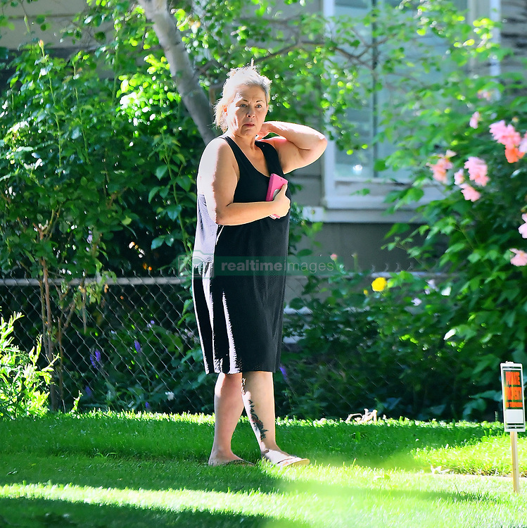 **PREMIUM EXCLUSIVE RATES APPLY**NO WEB** Disgraced tv star Roseanne Barr looks disgruntled as she is seen out in Salt Lake City, UT. The Trump supporting actress was seen checking out and confronting a news van parked outside her home. 03 Jun 2018 Pictured: Roseanne Barr. Photo credit: Marksman / MEGA TheMegaAgency.com +1 888 505 6342