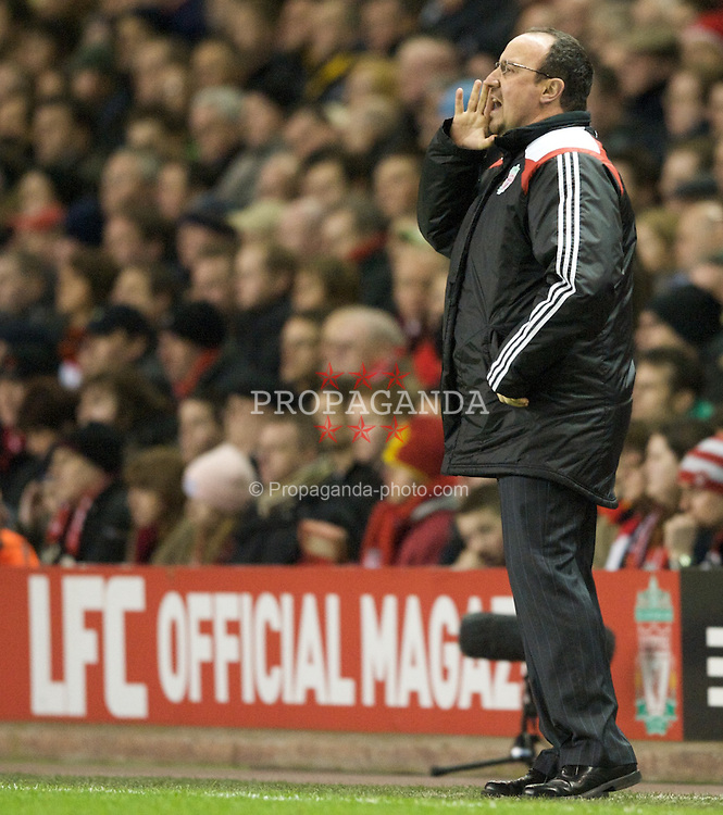 LIVERPOOL, ENGLAND - Wednesday, March 5, 2008: Liverpool's manager Rafael Benitez during the Premiership match against West Ham United at Anfield. (Photo by David Rawcliffe/Propaganda)