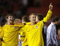 Manchester, England - Thursday, April 26, 2007: Liverpool's Stephen Darby celebrates with Ryan Flynn after beating Manchester United on penalties to win the FA Youth Cup for the second successive year during the FA Youth Cup Final 2nd Leg at Old Trafford. (Pic by David Rawcliffe/Propaganda)