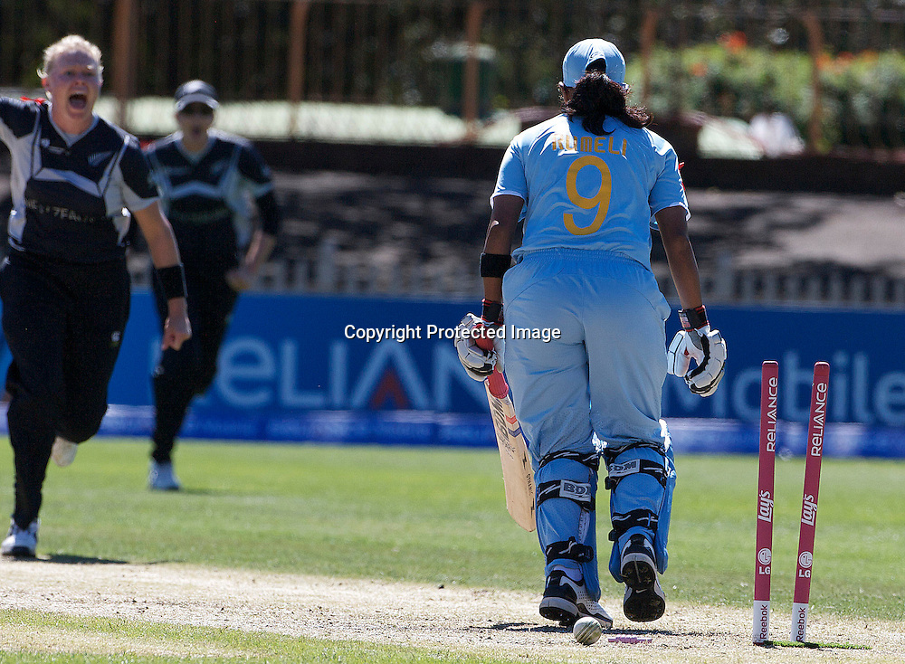 Sydney-March 17:  Rumeli Dhar is bowled by Kate Pulford during the match between New Zealand and India in the Super 6 stage of the ICC Women's World Cup Cricket tournament at North Sydney  Oval, Sydney, Australia on March 17, 2009. Photo by Tim Clayton.