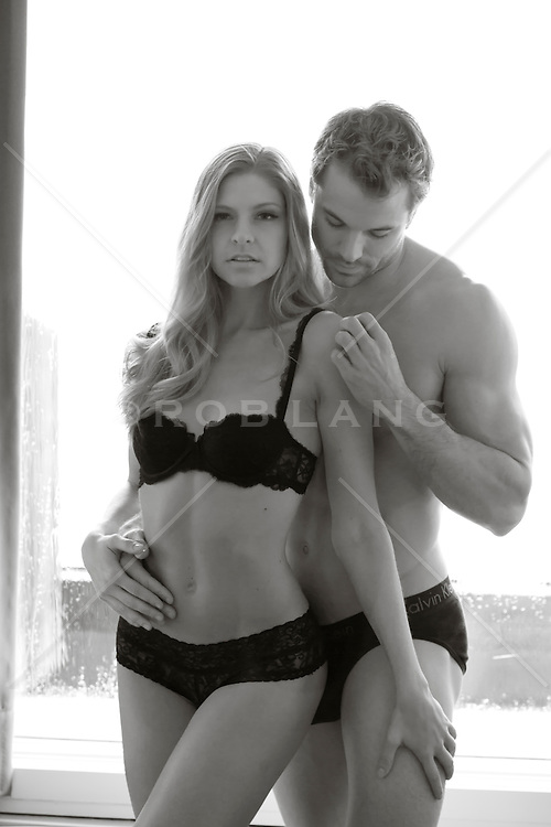 man and woman in underwear together