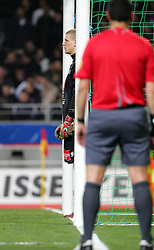 Lille goalkeeper Ludovic Butelle waits in anticipation for Toulouse to take a penalty during the 1/4 Final of la Coupe de France, Stade Municipal, Toulouse, France, 18th March 2009.