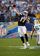 San Diego Chargers quarterback Philip Rivers (17) throws a deep pass during an AFC Divisional Playoff game against the New York Jets, January 17, 2010 in San Diego, California. The Jets won the game 17-14. ©Paul Anthony Spinelli